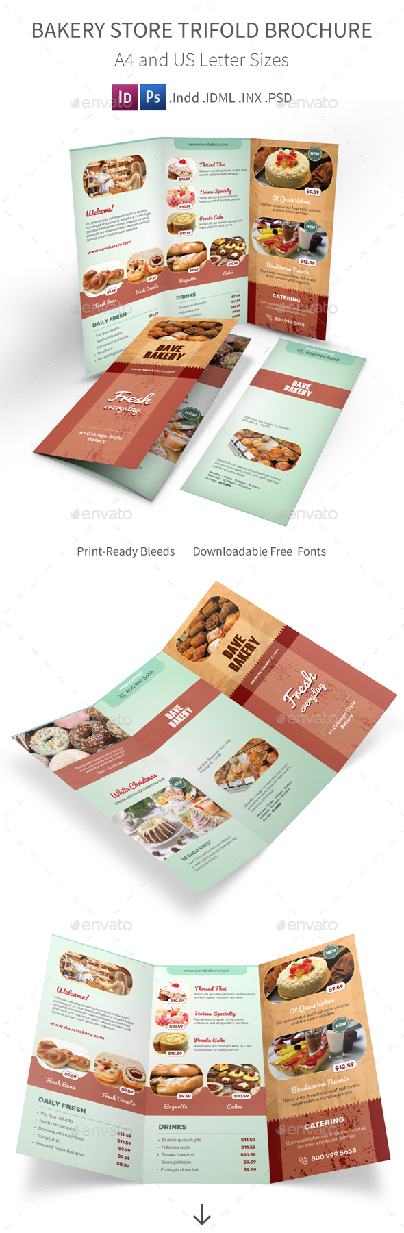 Bakery store trifold brochure by mike pantone graphicriver for Bakery brochure template free