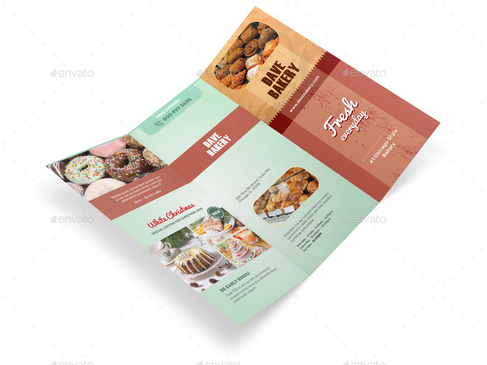 bakery store trifold brochure by mike pantone