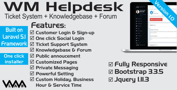 WM Helpdesk | Ticket Support, Knowledgebase & Forum - CodeCanyon Item for Sale