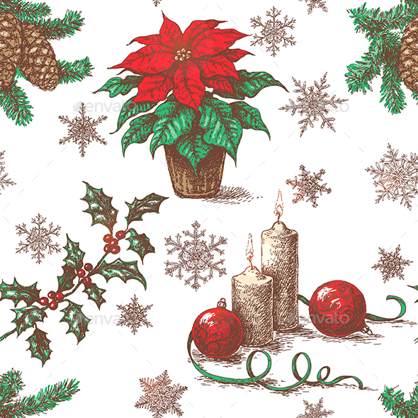 Seamless Pattern with Christmas Decorations - Christmas Seasons/Holidays