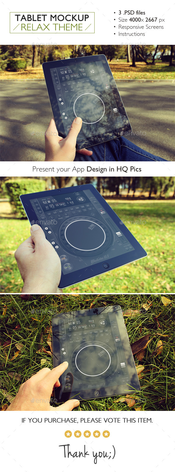 Tablet Mockup Relax Theme - Product Mock-Ups Graphics