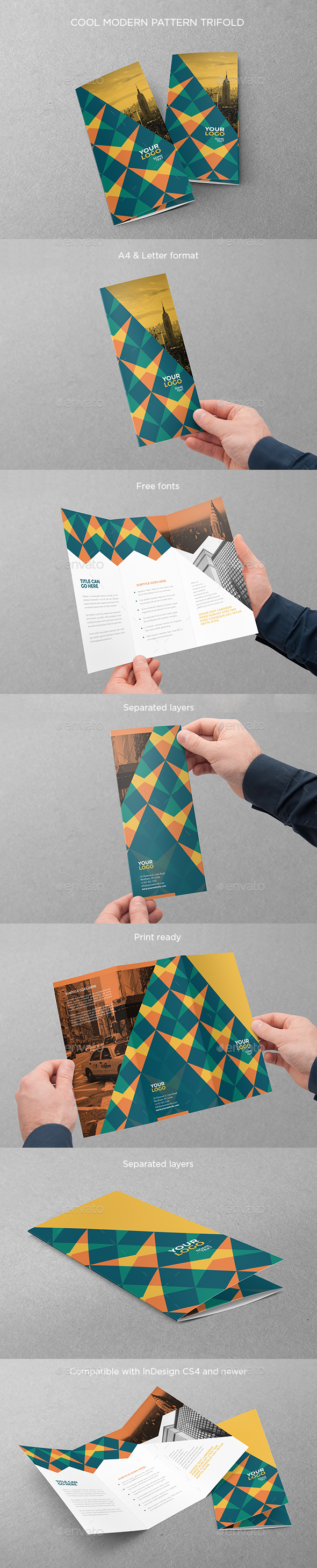Cool Modern Pattern Trifold - Brochures Print Templates