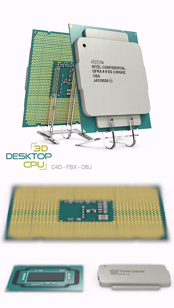 Desktop Processor 3D Model - 3DOcean Item for Sale