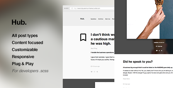 Hub – One Column, Blogging Tumblr Theme