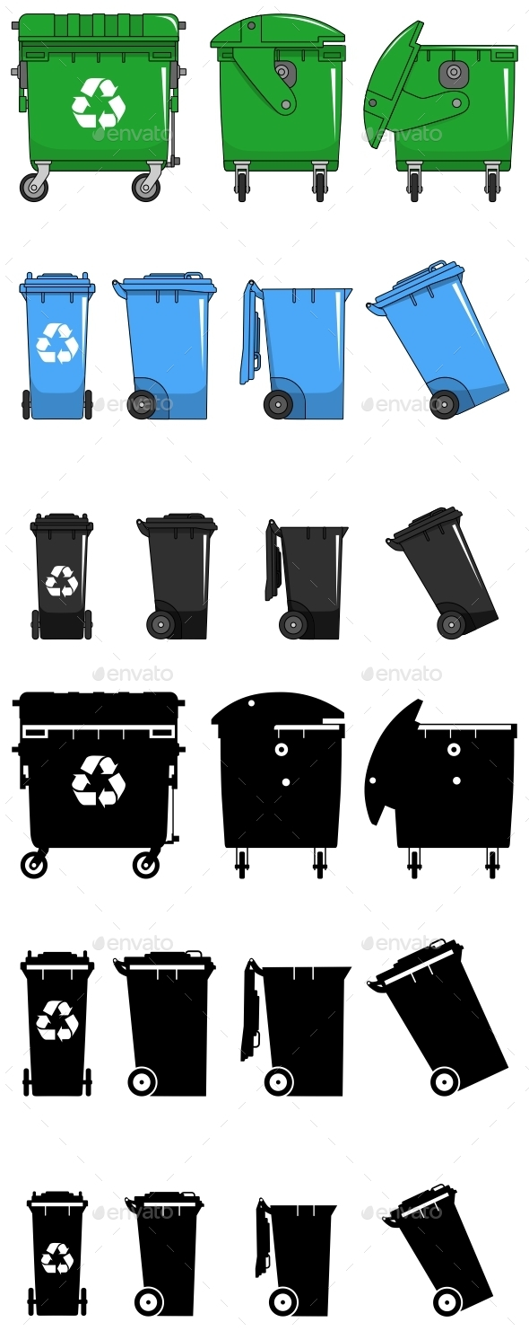 Set of Different Dumpsters in Flat Style - Man-made Objects Objects