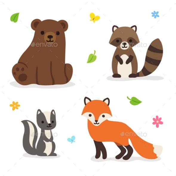 Forest Animals Vector Illustration - Animals Characters
