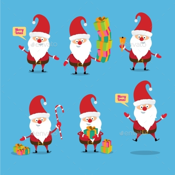 Santa Claus Collection. Vector Illustration - People Characters