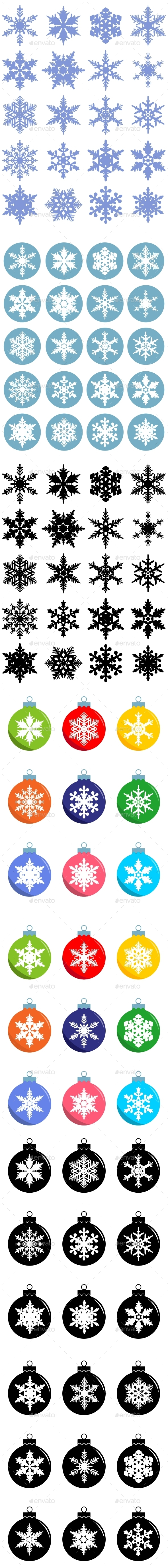 Set of Christmas Decorations and Snowflakes - Christmas Seasons/Holidays