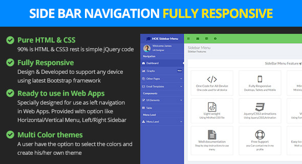 Responsive bootstrap sidebar navigation by logicalstack for Html side menu bar template