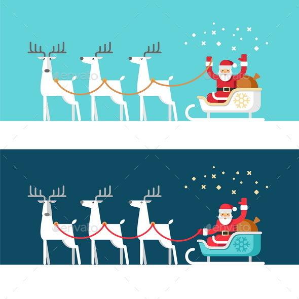 Santa Claus on Sleigh and his Reindeers - Christmas Seasons/Holidays