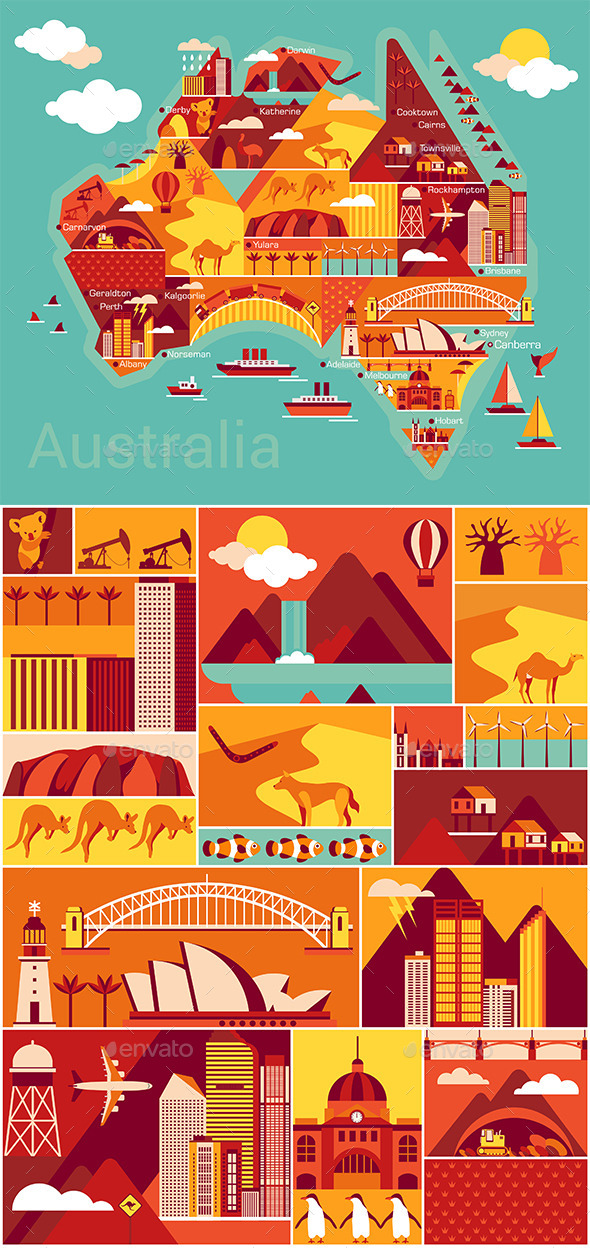 Australia Map  - Landscapes Nature