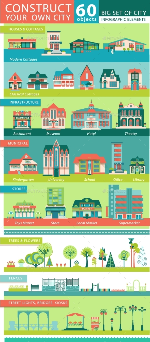 Big Set With City Infographic Objects.  - Concepts Business