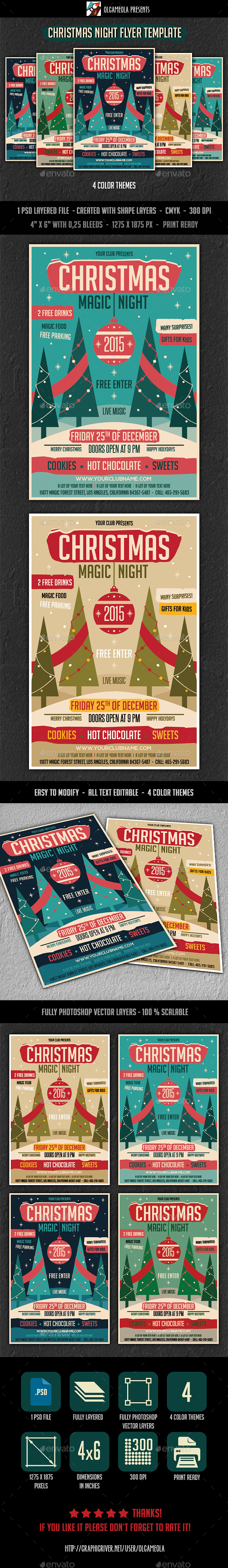 Christmas Night Flyer Template - Clubs & Parties Events