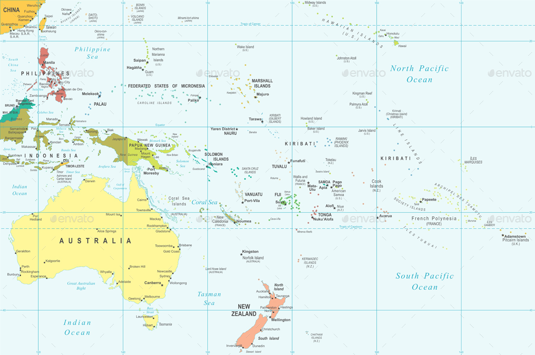 Australia Map Grid.Australia And Oceania Map Illustration
