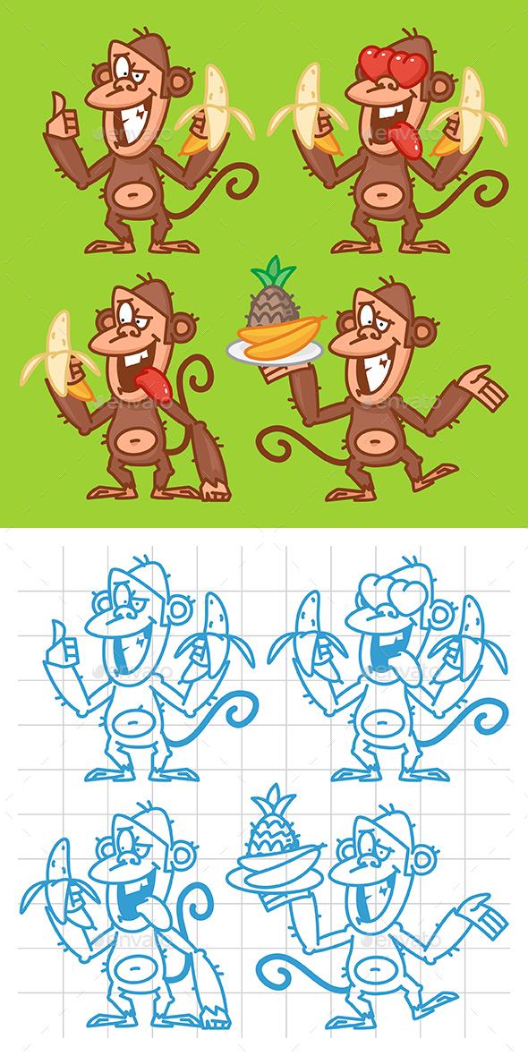 Monkey with Banana - Animals Characters