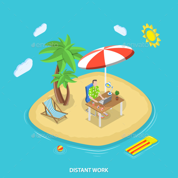 Distant Work Isometric Flat Vector Concept.  - Concepts Business