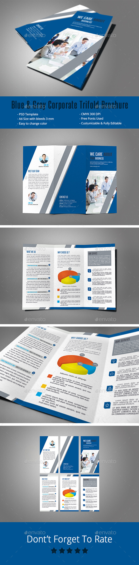 Blue & Gray Corporate Trifold Brochure - Corporate Brochures