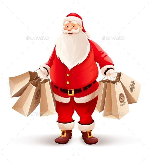 Merry Santa Claus with Shopping Bags Buys Gifts - Christmas Seasons/Holidays