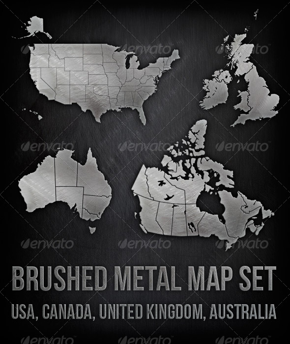 Brushed Metal Map Set - USA, Canada, UK, Australia - Miscellaneous Illustrations