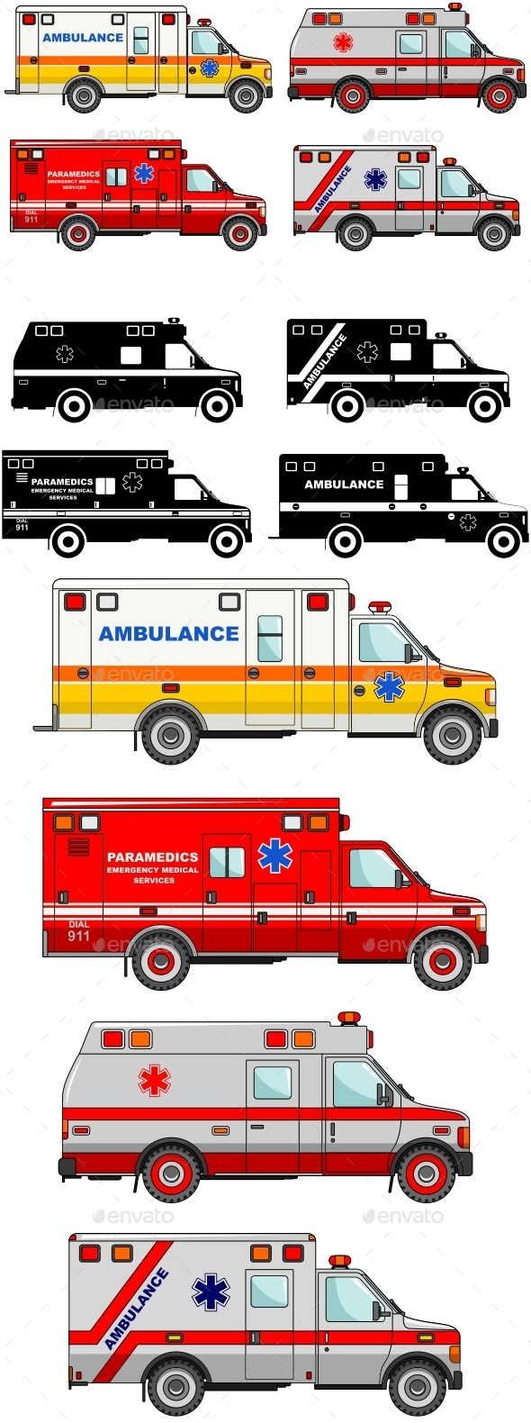 Ambulance Cars Isolated on White Background - Man-made Objects Objects