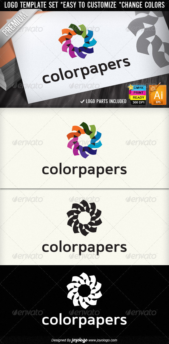 Color Papers Printing Service Retro Logo Designs - Objects Logo Templates