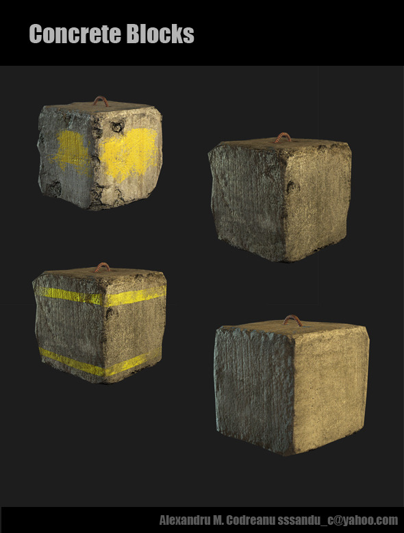 Concrete Blocks - 3DOcean Item for Sale