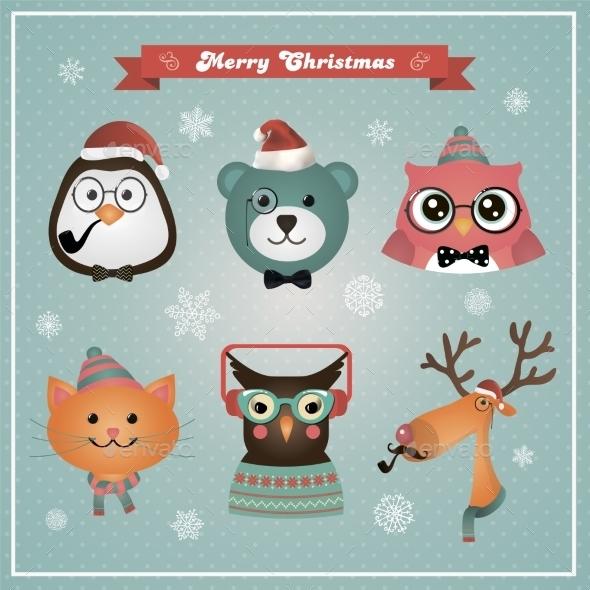Cute Christmas Fashion Hipster Animals And Pets - Halloween Seasons/Holidays
