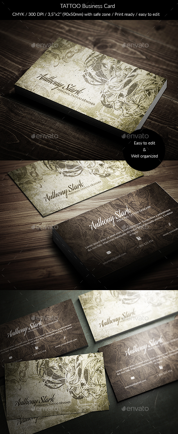Tattoo Business Card - Grunge Business Cards