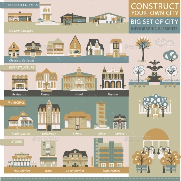 Big Set With City Infographic Objects.  - Buildings Objects