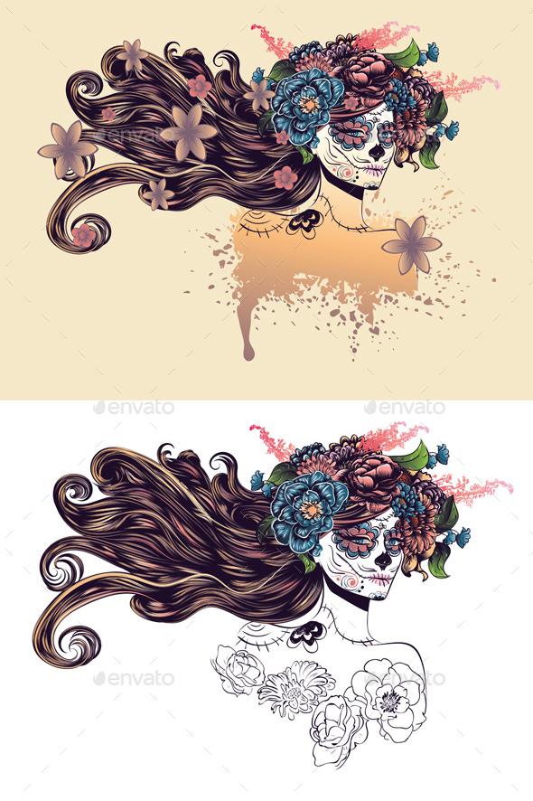 Sugar Skull Girl with Long Hair in Flower Crown - People Characters
