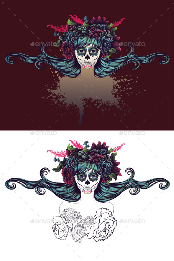 Sugar Skull Girl with Blue Hair in Flower Crown - People Characters