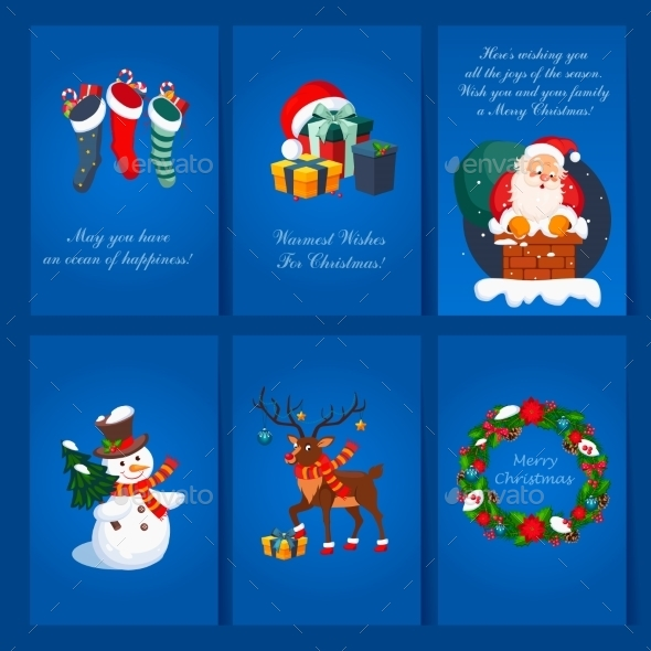 Set Of Christmas And New Year Greeting Cards - Christmas Seasons/Holidays