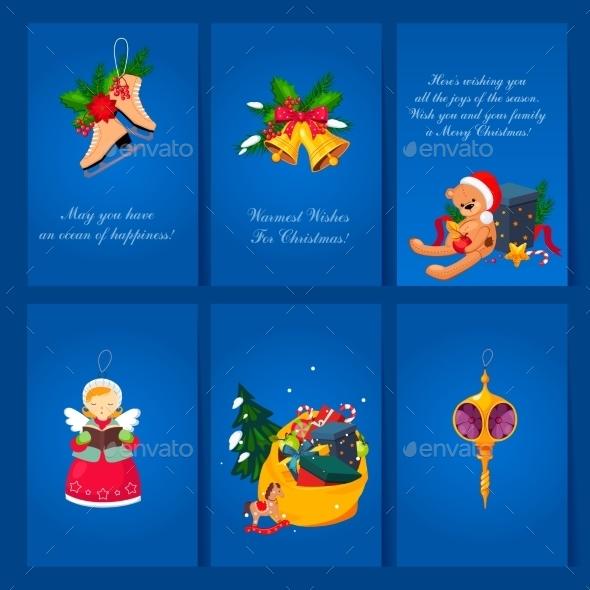 Set Of Christmas And New Year Greeting Cards - Christmas Seasons/Holidays