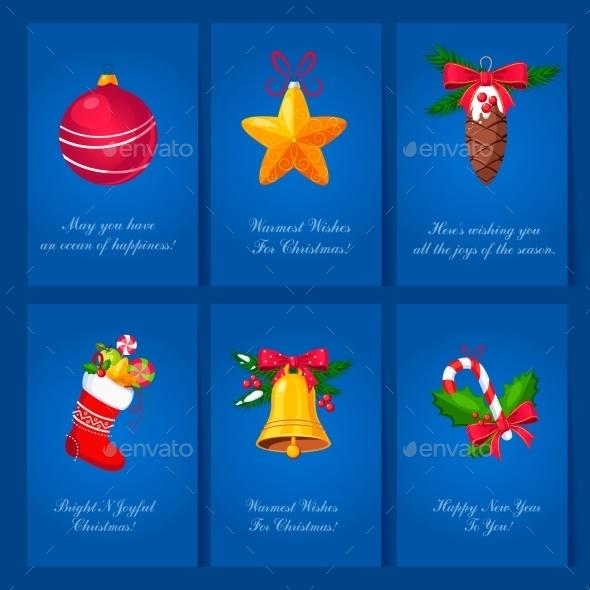 Holiday Cards With Christmas Balls And Toys - Christmas Seasons/Holidays