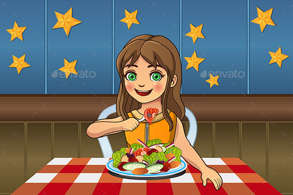 Girl Eating Salad - People Characters