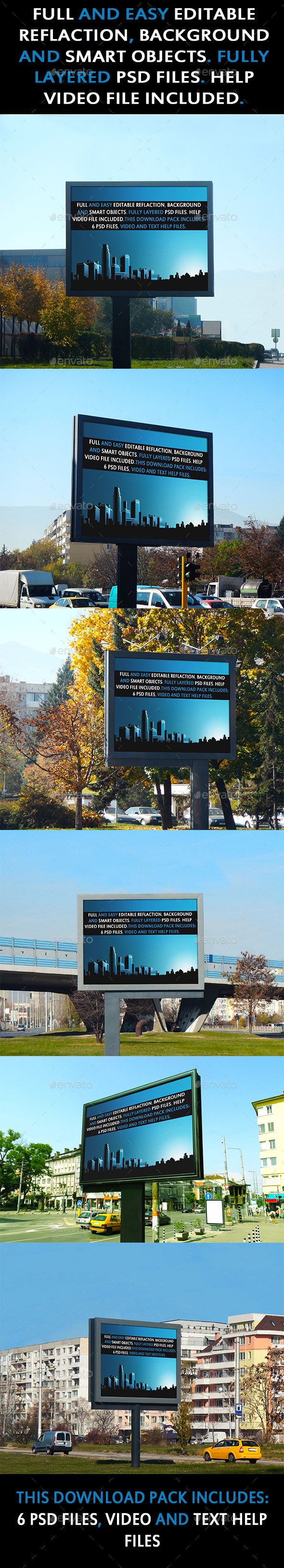 Six Pack Standard Billboard Mockups - Product Mock-Ups Graphics