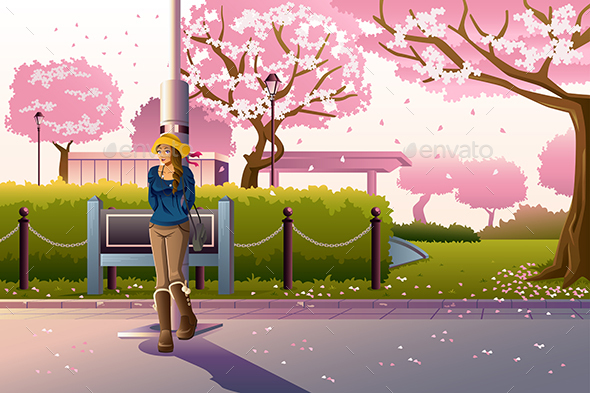 Girl Walking During Cherry Blossom - People Characters