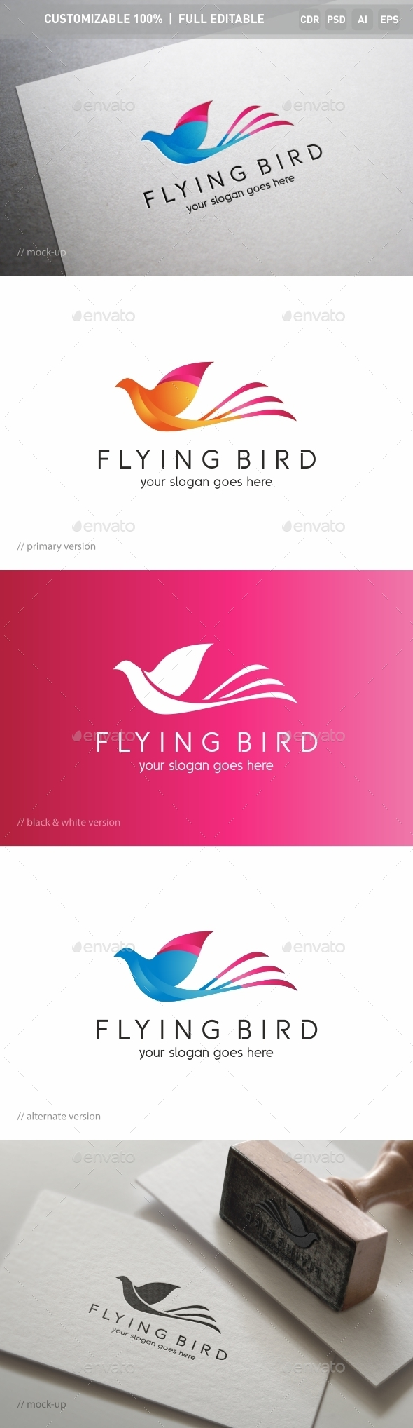 Flying Bird Logo Template - Objects Logo Templates