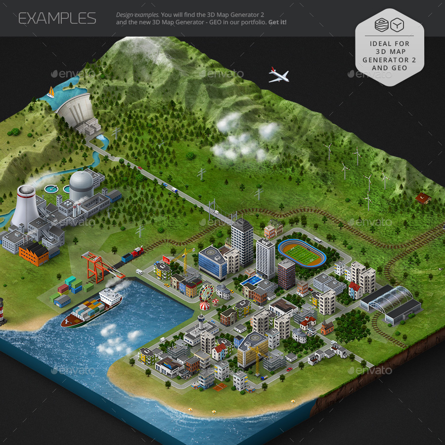 Isometric map icons bundle by orange box graphicriver for 3d layout maker