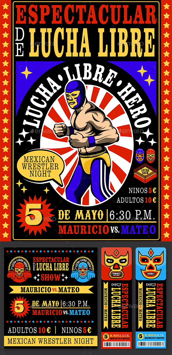 Vintage Lucha Libre ticket - Sports/Activity Conceptual
