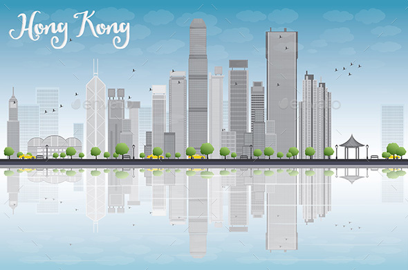 Hong Kong Skyline with Grey Buildings - Buildings Objects