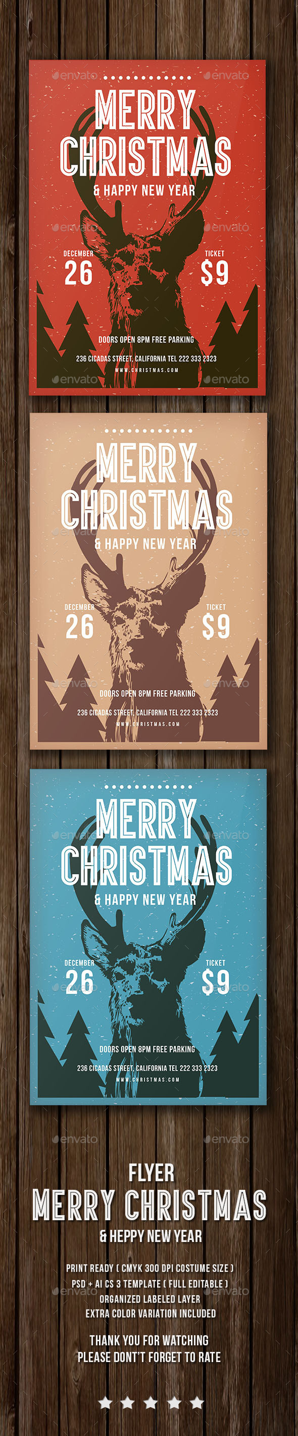 Christmas & Heppy New Year Flyer - Events Flyers