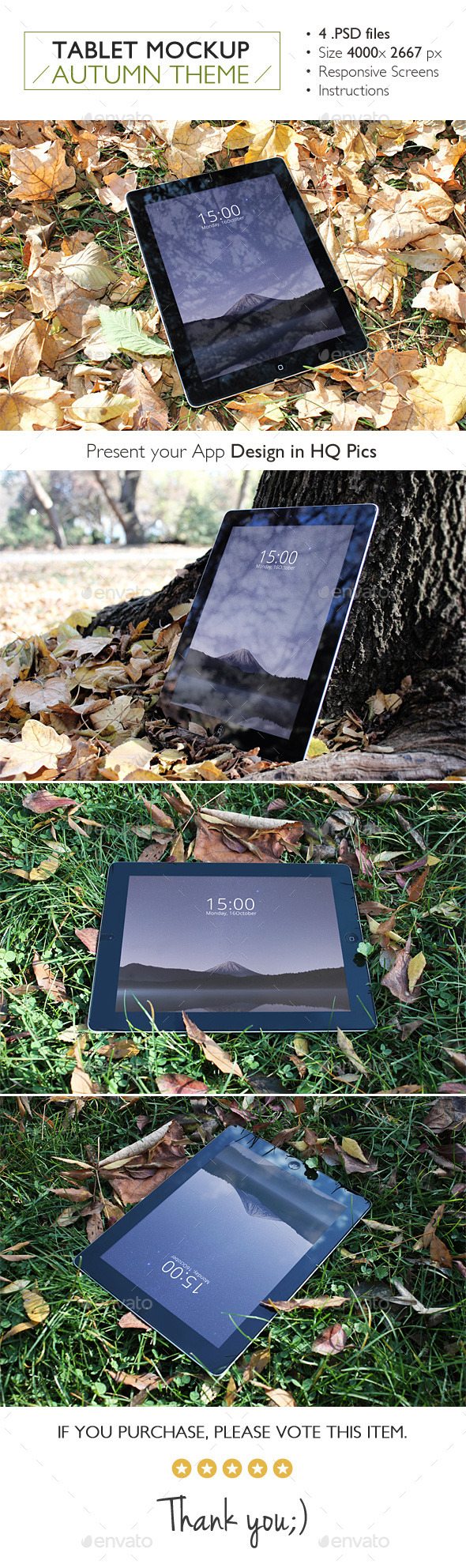 Tablet Mockup Autumn Theme - Product Mock-Ups Graphics