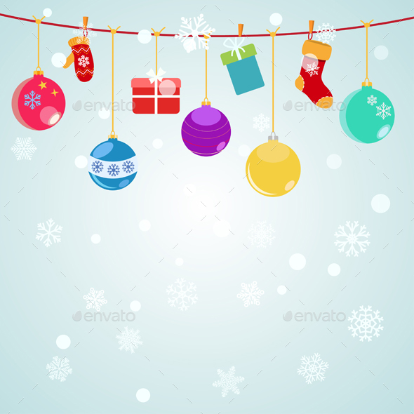 Christmas Background With Hanging Gift Boxes - Christmas Seasons/Holidays
