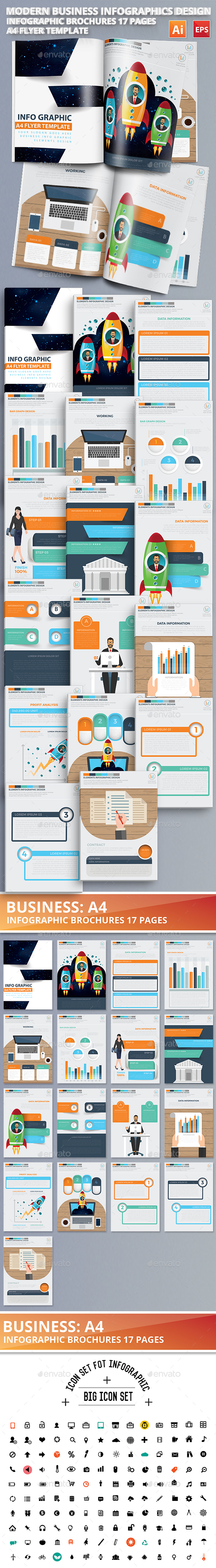 Modern Business Infographics 17 Pages Design - Infographics