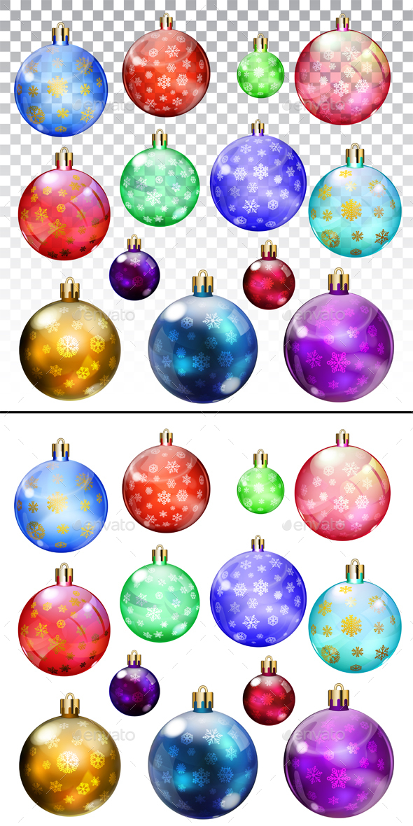 Christmas Balls With Snowflakes - Christmas Seasons/Holidays