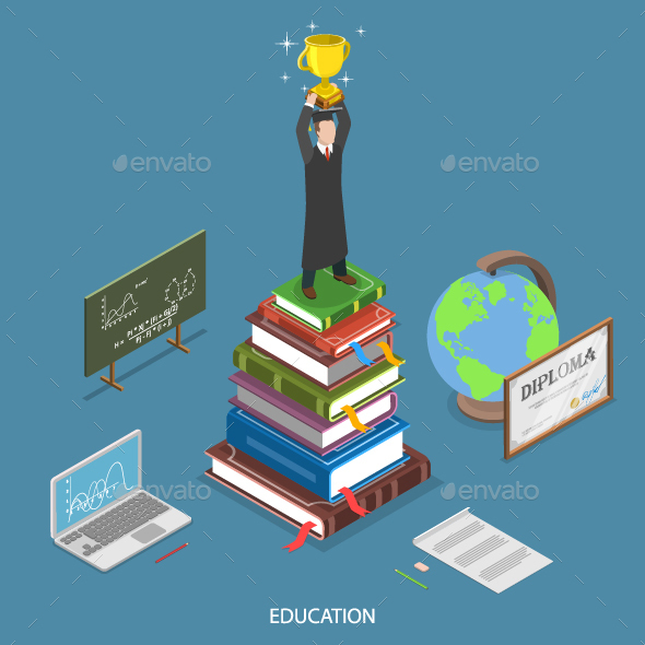 Education Isometric Flat Concept - Computers Technology