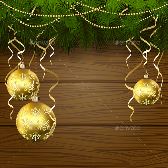Wooden Background with Christmas Balls - Christmas Seasons/Holidays