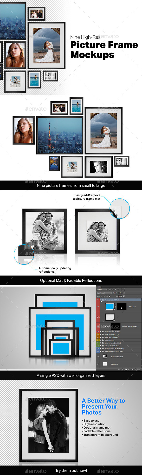 9 Picture Frame Mockups - Posters Print