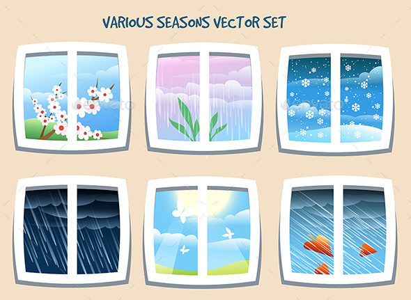 Various Seasons Vector Set - Nature Conceptual